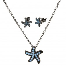 Wholesale Sterling Silver 925 Black Rhodium Plated Light Blue Opal Starfish Set - BGS00516