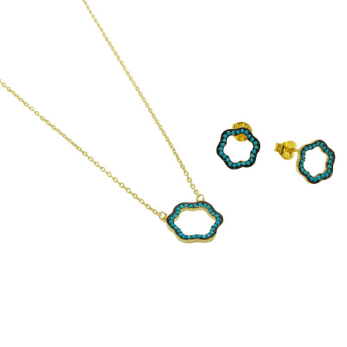 Wholesale Sterling Silver 925 Gold Plated Open Clover Necklace with Turquoise Beads - BGS00517