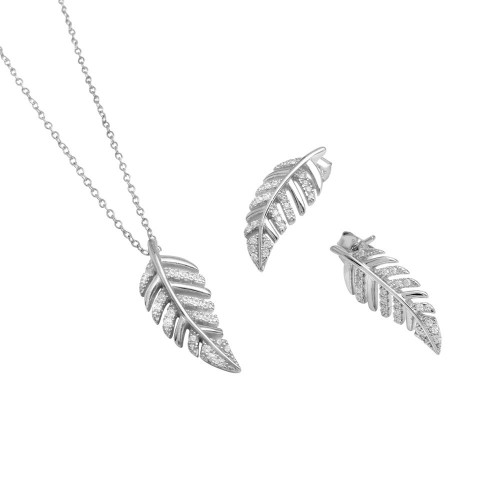 Wholesale Sterling Silver 925 Rhodium Plated Outline Leaf with CZ Set - BGS00518