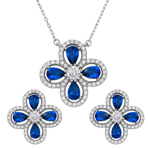 Wholesale Sterling Silver 925 Rhodium Plated 4 Leaf Clover with Blue Teardrop and Clear Round CZ - BGS00519BLU