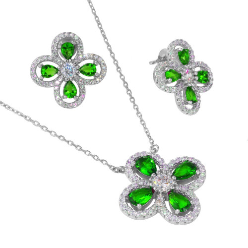 Wholesale Sterling Silver 925 Rhodium Plated 4 Leaf Clover with Green Teardrop and Clear Round CZ - BGS00519GRN