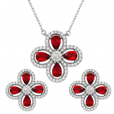 Wholesale Sterling Silver 925 Rhodium Plated 4 Leaf Clover with Red Teardrop and Clear Round CZ - BGS00519RED