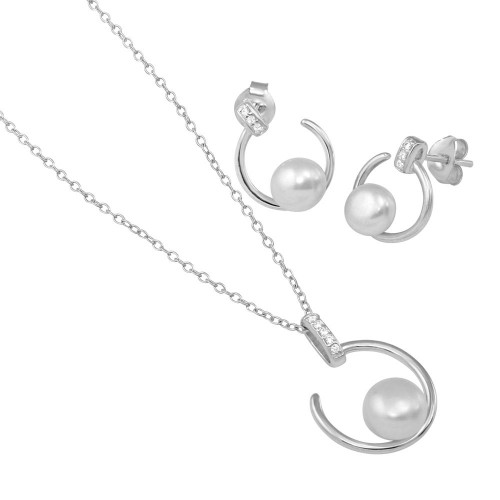 Wholesale Sterling Silver 925 Rhodium Plated Open CZ Circle with Fresh Water Pearl Set - BGS00520