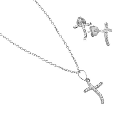 Wholesale Sterling Silver 925 Rhodium Plated Wavy CZ Cross Set - BGS00521