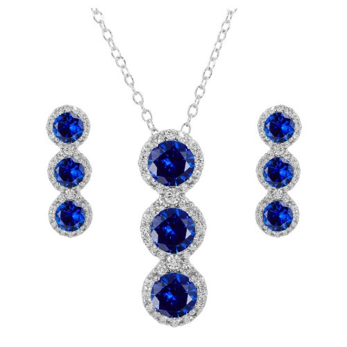 Wholesale Sterling Silver 925 Rhodium Plated 3 Blue Stone CZ Stud Earring and Necklace Set - BGS00522BLU
