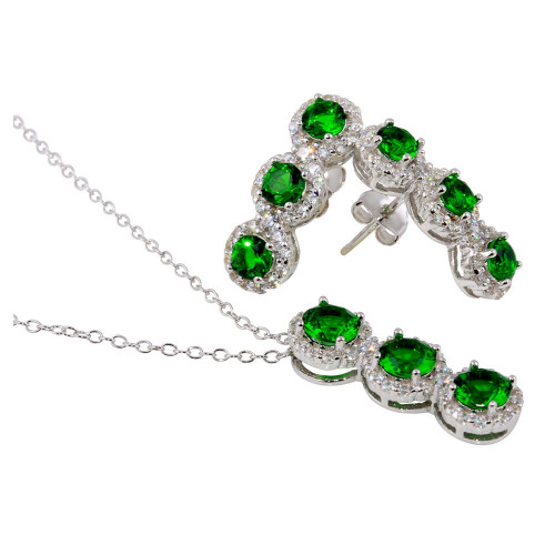 Wholesale Sterling Silver 925 Rhodium Plated 3 Green Stone CZ Stud Earring and Necklace Set - BGS00522GRN