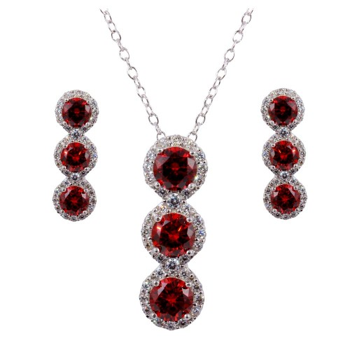 Wholesale Sterling Silver 925 Rhodium Plated 3 Red Stone CZ Stud Earring and Necklace Set - BGS00522RED