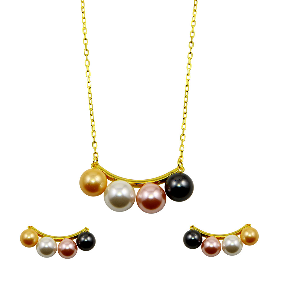 Wholesale Sterling Silver 925 Gold Plated 4 Multi Colored Synthetic Pearl Designed Set - BGS00527