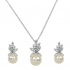 Wholesale Sterling Silver 925 Rhodium Plated CZ Leaves with Synthetic Pearl Set - BGS00528