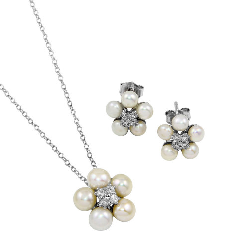 Wholesale Sterling Silver 925 Rhodium Plated CZ Fresh Water Flower Pearl Set - BGS00529