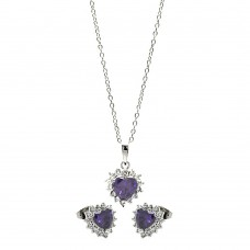 Wholesale Sterling Silver 925 Rhodium Plated Purple Heart Cluster Set - BGS00324