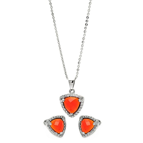 Wholesale Sterling Silver 925 Rhodium Plated Cushion Triangle Red CZ Set - BGS00326