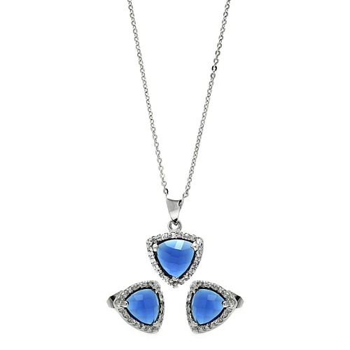 Wholesale Sterling Silver 925 Rhodium Plated Cushion Triangle Blue CZ Set - BGS00327