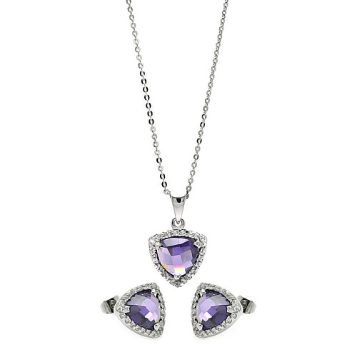 Wholesale Sterling Silver 925 Rhodium Plated Cushion Triangle Purple CZ Set - BGS00328
