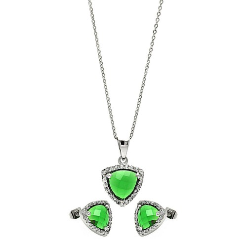 Wholesale Sterling Silver 925 Rhodium Plated Cushion Triangle Green CZ Set - BGS00329