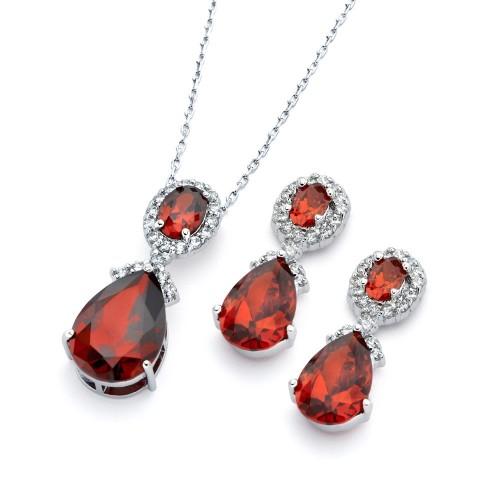 Wholesale Sterling Silver 925 Rhodium Plated Red and Clear Teardrop Oval CZ Dangling Stud Earring and Dangling Necklace Set - BGS00299