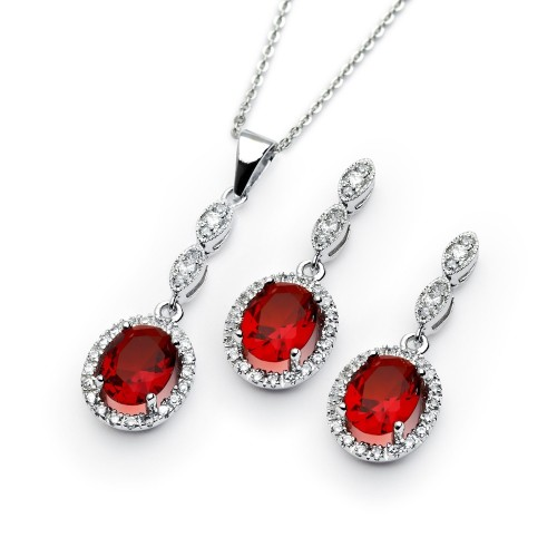 Wholesale Sterling Silver 925 Rhodium Plated Ruby and Clear Oval CZ Dangling Stud Earring and Dangling Necklace Set - BGS00330