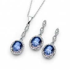 Wholesale Sterling Silver 925 Rhodium Plated Blue and Clear Oval CZ Dangling Stud Earring and Dangling Necklace Set - BGS00331