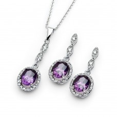 Wholesale Sterling Silver 925 Rhodium Plated Purple and Clear Oval CZ Dangling Stud Earring and Dangling Necklace Set - BGS00332