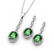Wholesale Sterling Silver 925 Rhodium Plated Green and Clear CZ Dangling Stud Earring and Dangling Necklace Set - BGS00333