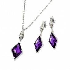 Wholesale Sterling Silver 925 Rhodium Plated Clear Inlay Purple Diamond Shaped CZ Dangling Stud Earring and Dangling Necklace Set - BGS00401A