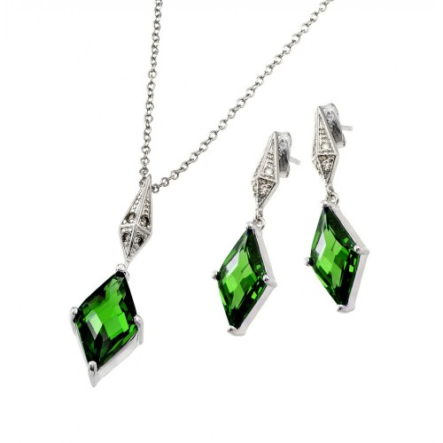 Wholesale Sterling Silver 925 Rhodium Plated Clear Inlay Green Diamond Shaped CZ Dangling Stud Earring and Dangling Necklace Set - BGS00401G