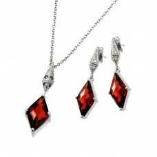 Wholesale Sterling Silver 925 Rhodium Plated Clear Inlay Red Diamond Shaped CZ Dangling Stud Earring and Dangling Necklace Set - BGS00401R