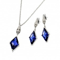 Wholesale Sterling Silver 925 Rhodium Plated Clear Inlay Blue Diamond Shaped CZ Dangling Stud Earring and Dangling Necklace Set - BGS00401TAN
