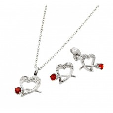 Wholesale Sterling Silver 925 Rhodium Plated Clear Heart Red Rose CZ Stud Earring and Necklace Set - BGS00406