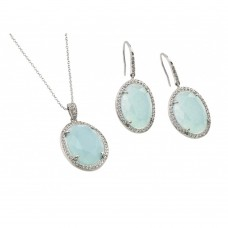 Wholesale Sterling Silver 925 Rhodium Plated Clear Cluster Light Blue Oval CZ Hook Earring and Necklace Set - BGS00411