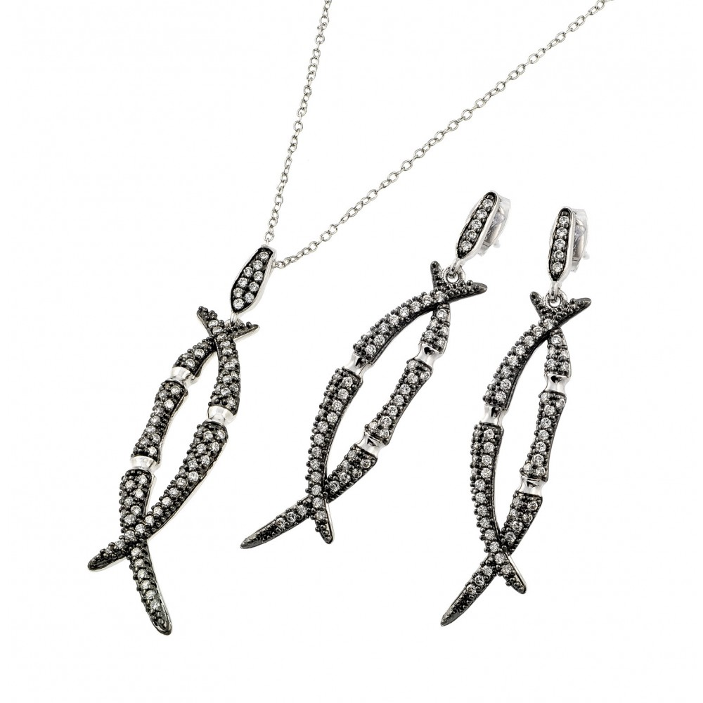 Wholesale Sterling Silver 925 Black Rhodium Plated Clear Overlap Marquise CZ Dangling  Set - BGS00412