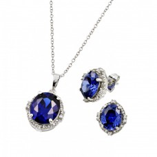 Wholesale Sterling Silver 925 Rhodium Plated Blue Round Clear Cluster CZ Stud Earring and Necklace Set - BGS00413