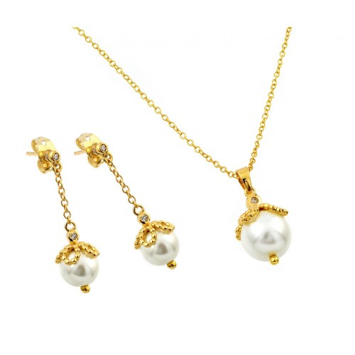 Wholesale Sterling Silver 925 Gold Plated Pearl Drop Clear CZ Dangling Stud Earring and Necklace Set - BGS00414