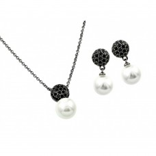 Wholesale Sterling Silver 925 Oxidized Rhodium Plated Black Pearl Drop CZ Dangling Set - BGS00415