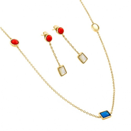 Wholesale Sterling Silver 925 Gold Plated Turquoise Coral White Abalone Shell Dangling Stud Earring and Necklace Set - BGS00416GP