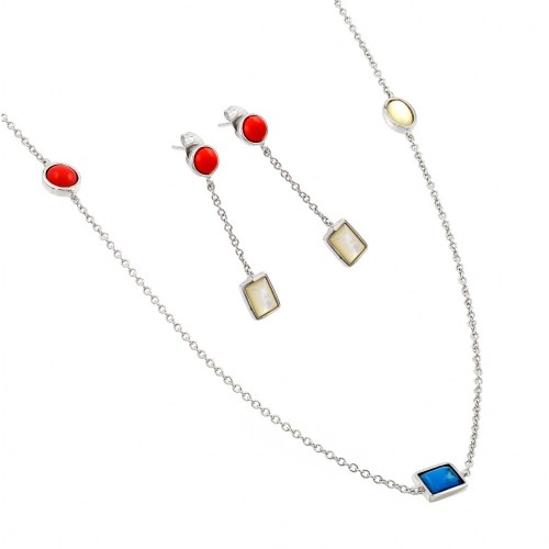Wholesale Sterling Silver 925 Rhodium Plated Turquoise Coral White Abalone Shell Dangling Stud Earring and Necklace Set - BGS00416RHD