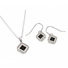 Wholesale Sterling Silver 925 Rhodium and Black Rhodium Plated Black and Clear CZ Set - BGS00417