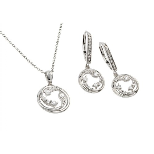 Wholesale Sterling Silver 925 Rhodium Plated Clear Open Circle Swirl CZ Leverback Earring and Necklace Set - BGS00418