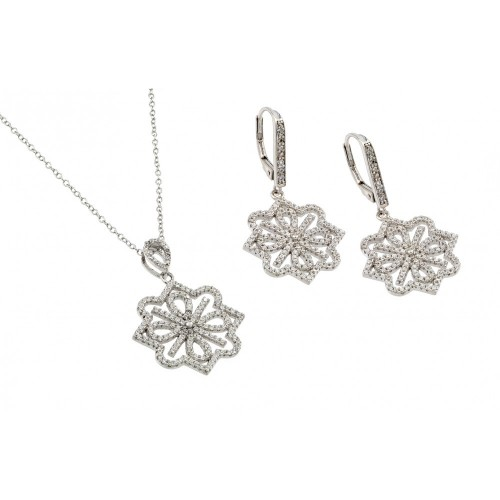 Wholesale Sterling Silver 925 Rhodium Plated Clear French Flower CZ Leverback Earring and Necklace Set - BGS00419