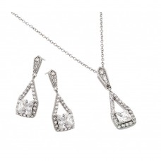 Wholesale Sterling Silver 925 Rhodium Plated Clear Square CZ Hanging Stud Earring and Hanging Necklace Set - BGS00420