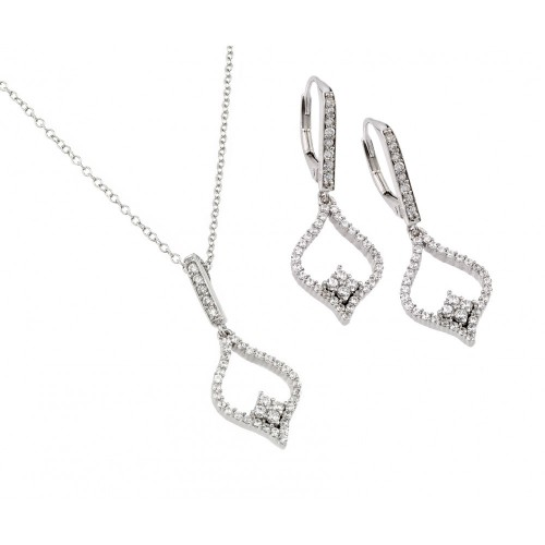 Wholesale Sterling Silver 925 Rhodium Plated Clear Open Marquise CZ Leverback Earring and Hanging Necklace Set - BGS00421