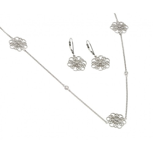 Wholesale Sterling Silver 925 Rhodium Plated Clear Flower Filigree CZ Leverback Earring and Necklace Set - BGS00422