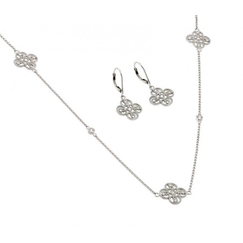 Wholesale Sterling Silver 925 Rhodium Plated Simple Clover CZ Leverback Earring and Necklace Set - BGS00423