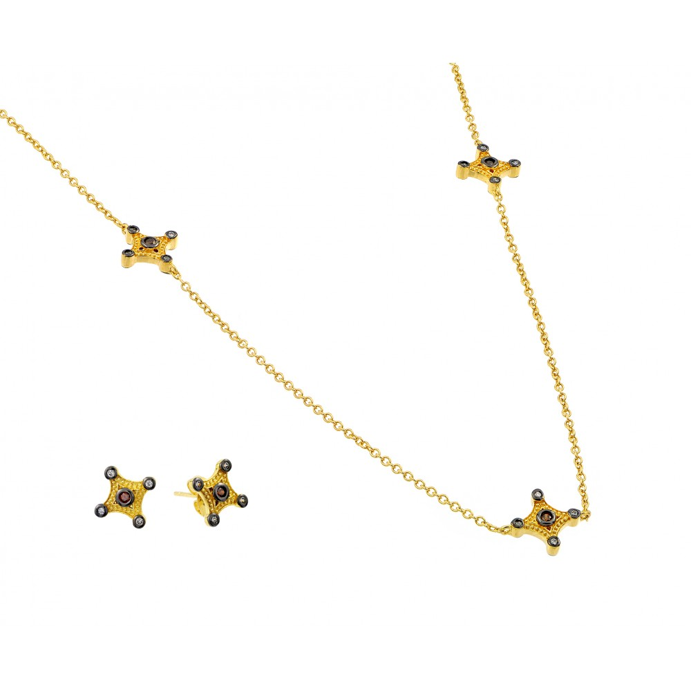 Wholesale Sterling Silver 925 2 Toned Plated Clear and Champagne Cross CZ Stud Earring Necklace Set - BGS00424