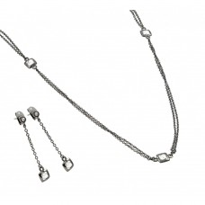 Wholesale Sterling Silver 925 Oxidized Rhodium Plated Multi Faceted White CZ Dangling Set - BGS00425WHT