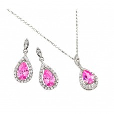 Wholesale Sterling Silver 925 Rhodium Plated Clear Cluster Pink Teardrop CZ Dangling Stud Earring and Dangling Necklace Set - BGS00427