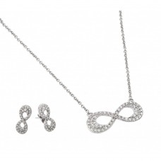 Wholesale Sterling Silver 925 Rhodium Plated Clear Inlay Double Line Infinity CZ Stud Earring and Necklace Set - BGS00430