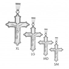 Sterling Silver 2 Toned Matte Finish Cross Floury Pendant - BSP00028