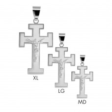 Sterling Silver High Polished Matte Finished Cross of Lorraine Style Pendant - BSP00032