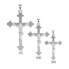 Sterling Silver 2 Toned High Polished Budded Cross Style Pendant - BSP00033